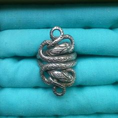 """Sterling Silver Double Snake Ring Double snake ring, handmade in Nepal. Sterling silver, size 7.5 to 8, about 1.5"""" long. Jewelry Rings"""