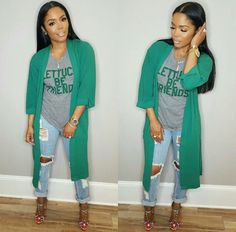The Long Green #Cardigan Is All Types Of Yes !!! #nikkisayZz //  ❤❤❤❤❤