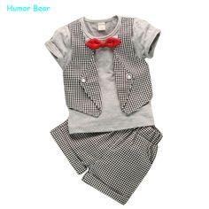 $8.08 (Buy here: https://alitems.com/g/1e8d114494ebda23ff8b16525dc3e8/?i=5&ulp=https%3A%2F%2Fwww.aliexpress.com%2Fitem%2FRetail-new-2014-kid-clothing-set-sports-girl-short-sleeve-clothing-set-Starfish-tassel-cartoon-t%2F1859389013.html ) Humor Bear Fashion fake two children lattice gentleman serving baby boys summer short-sleeved suit pants 2pc/ sets for just $8.08