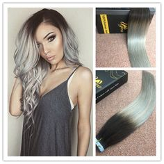 Balayage Ombre Tape in Human Hair Extensions Straight Dip Dyed Black to Silver #Ugea
