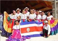 Costa Rican Typical Costume and National Symbol Costa Rica, Mexico Fashion, Kid United, Culture Clothing, World Thinking Day, Native Country, National Symbols, Country Crafts, American Country
