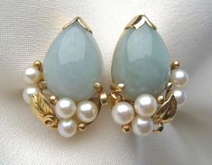 1950's Jade & Pearl earrings