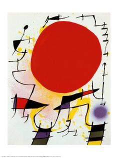 Lithograph I- Plate 3 (Soleil Rouge) - Joan Miro Pablo Picasso, Painting Prints, Art Prints, Hieronymus Bosch, Sun Art, Red Sun, Spanish Painters, Oeuvre D'art, Les Oeuvres