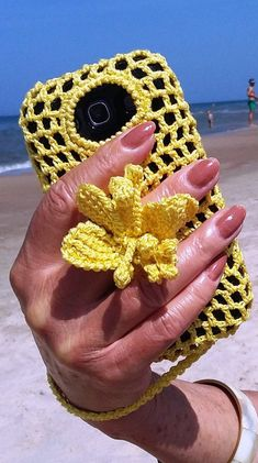 Crochet Phone Cover iPhone case for girls decorat with flower Artistic iphone case Phone sleeve Phone grip Crochet phone case Yellow iphone case Charm case - Love Crochet, Bead Crochet, Crochet Gifts, Learn To Crochet, Diy Crochet, Craft Patterns, Crochet Patterns, Crochet Phone Cover, Cell Phone Pouch