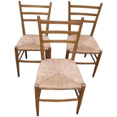 Trio of Modern Italian Chairs in the Manner of Gio Ponti | From a unique collection of antique and modern dining room chairs at https://www.1stdibs.com/furniture/seating/dining-room-chairs/