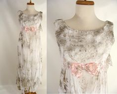 $84.00 Dirty Zombie Wedding Dress. Zombie Bride. BLOOD OPTIONAL. vintage 60s White Lace Zombie Prom Dress. Ghost Halloween Costume. Size S Small 4