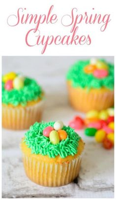 Simple Spring Cupcake Recipe.  Spring is here and if you are looking for one more adorable sweet treat, we have you covered! To start, make any cupcake recipe. Feel free to make white, chocolate, red velvet, whatever your heart desires. To add the grass, we recommend Wilton #233 grass tip. With this tip, adding grass is easy as can be. No fuss, no muss. Be sure the cupcakes are completely cooled before attempting to ice them.