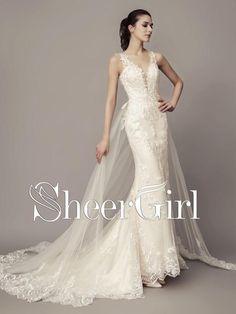 Lace Wedding Dresses Long Sleeve Vingate