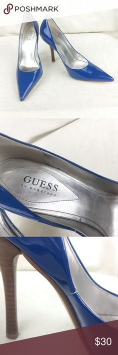 """Guess by Marciano blue patent leather heels 9M Very nice pair of Guess by Marciano women's patent leather slim heel shoes in electric blue. These shoes are gleaming and in really good condition.  These shoes are a women's US size 9M. The heel is approximately 4.5"""" high.  Condition notes: There is a small split on the inside left shoe, see photos.  Please refer to photos for shoe and condition details. Feel free to ask any questions prior to making your purchase. All reasonable offers will be…"""