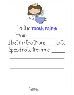 Printable note 'To the Tooth Fairy'!