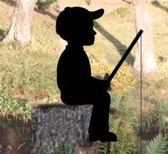 "Woodworking Jigsaw **NEW** Lawn Art Yard Shadow/Silhouette - ""Fishing Boy"" - Shadow Silhouette, Dog Silhouette, Wood Yard Art, Wood Art, Woodworking Jigsaw, Teds Woodworking, Woodworking Clamps, Woodworking Patterns, Woodworking Projects"