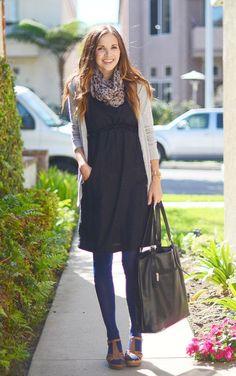summer dress in winter  navy tights  black dress  grey cardigan   leopard print scarf