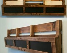 Reclaimed Pallet Wood 3 Pocket Organizer. Mail by AJSCreationsCo