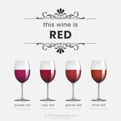 Wine tasting terms: tones of red Italian Wine, Red Bricks, Red Garnet, Wine Tasting, Red Wine, Wine Glass, Alcoholic Drinks, Alcoholic Beverages, Wine Bottles
