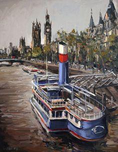 'Steam Boat' Gerard Byrne, oil on canvas, 46x58cm, River Thames, London, United Kingdom, www.gerardbyrneartist.com