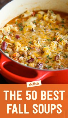 Slow Cooker Bacon Cheeseburger Soup is loaded with potatoes, ground beef, cheese and of course bacon! This amazing soup is full of flavor and every soup lovers dream! No potatoes One Pot Meals, Easy Meals, Chili Mac And Cheese, Fall Soup Recipes, Fall Dinner Recipes, Chili Recipes, Chili Mac Recipe, Hamburger Recipes, Barbecue Recipes