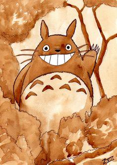 Totoro fan art, coffee painting by Zefiro Viera Almasy