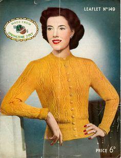 Knitting Patterns For Women Cardigan Colour Trendy Ideas 1940s Fashion, Vintage Fashion, Mustard Cardigan, Cardigan Design, Vintage Wardrobe, Vintage Knitting, Knitting Patterns, Knitting Projects, Hand Knitting