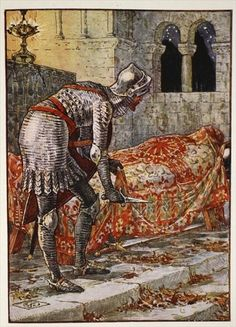 Sir Lancelot in the Chapel Perilous, from 'Stories of the Knights of the Round Table' by Henry Gilbert, first edition, 1911 by Walter Crane