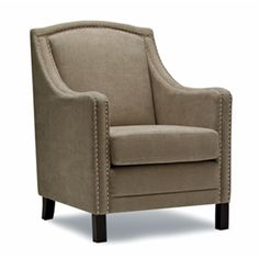 Sela chair is Could be very cute in a pair by the fireplace. Stocked in chic biscotti fabric