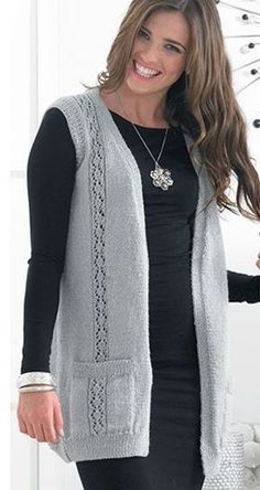 """Cardigan & Waistcoat Knit Pattern from Annie's Craft Store. Order here… """"Cardigan & Waistcoat Knit Pattern from Annie's Craft Store. Baby Knitting Patterns, Knitting Designs, Hand Knitting, Crochet Socks, Knit Crochet, Knit Vest Pattern, Lace Vest, Crochet Woman, Dame"""