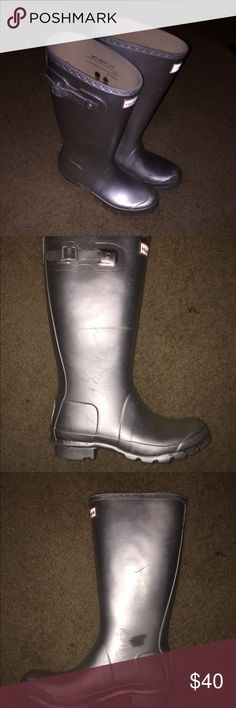 Silver Hunter *Kids Size* Rainboots These are a size 5 kids silver Hunter rainboot. They have been well worn, with scuffs on the inside about the size of a quarter. Hunter Shoes Winter & Rain Boots
