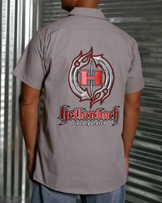 Hellanbach Patched Industrial Mechanic Work Shirts feature three patented state-of-the-art patches w/highly dimensional graphics. Mens Work Shirts, Mens Tops, T Shirt, 3d, Store, Fashion, Supreme T Shirt, Moda, Tee Shirt