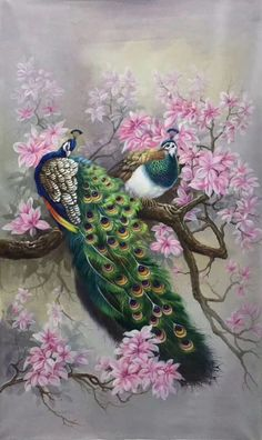 hand-made oil painting,decoration,mural. Japanese Painting, Chinese Painting, Chinese Art, Japanese Art, Beautiful Drawings, Beautiful Paintings, Beautiful Birds, Peacock Wall Art, Peacock Painting