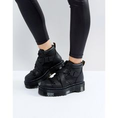 Dr Martens Beaumann Cross Strap Flatform Boots (755 RON) ❤ liked on Polyvore featuring shoes, boots, black, chunky black boots, leather lace up boots, black round toe boots, chunky lace up boots and leather upper boots
