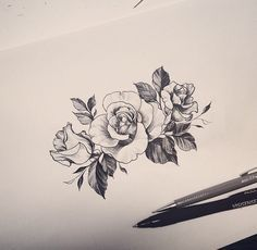 Minimalist rose tattoo. Artist: tattooist_doy