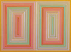 RICHARD ANUSZKIEWICZ B.1930 DOUBLE TAN signed and dated twice 1973 on the reverse acrylic on panel 23 by 31 in