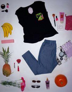 Camiseta manga alita con bolsillo estampado y Leggings de Jean!