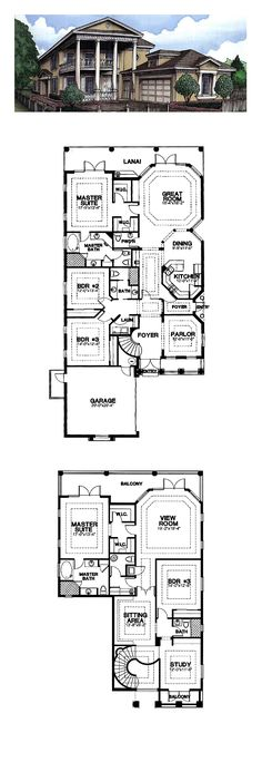 Plantation House Plan 58968 | Total Living Area: 4111 sq. ft., 5 bedrooms and 4.5 baths. #houseplan #plantationhome