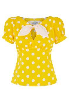 The Peekaboo Top - Yellow Spot Cute pinup fifties style polkadot blouse with…