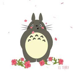 Анимация Totoro / Тоторо из аниме Tonari no Totoro / Мой сосед Тоторо кланяется и к нему летят цветы, by CL Terry