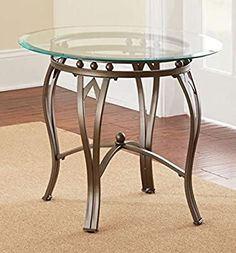 Amazon.com: Round End Table with Storage Area Side Table Décor End Table Brown Coffee Table Furniture Table: Kitchen & Dining Round End Tables, Round Glass Coffee Table, Glass Top End Tables, Metal End Tables, Round Sofa, Sofa End Tables, End Tables With Storage, Glass Table, Side Tables