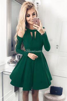 Forest Green A-line Jersey Long Sleeve Homecoming Dress – Simplepromdress Long Sleeve Homecoming Dresses, Green Long Sleeve Dress, Prom Dresses, Cheap Dresses, Short Dresses, Forest Green Dresses, Dresser, Vintage 1950s Dresses, Swing Dress