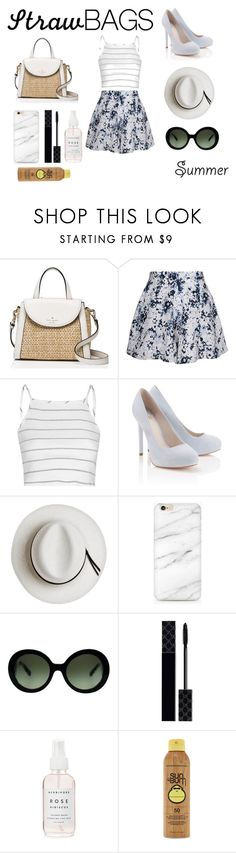 """""""Carry on: Straw Bags-Contest"""" by thglover4ever ❤ liked on Polyvore featuring Kate Spade, Olive + Oak, Glamorous, Lipsy, Calypso Private Label, Prada, Gucci, Forever 21 and strawbags"""