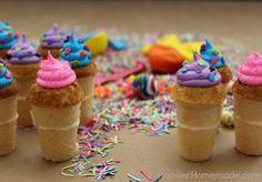 Mini Funfetti Birthday Cupcake Cones :: Recipe on HoosierHomemade.com
