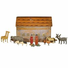 antique noah's ark | Antique German Noah's Ark with 180 animals and Noah and his wife.