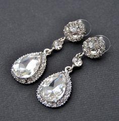 Pendientes de novia cristal pendientes de boda por BlueSkyHorizons