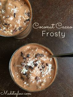 A creamy, chocolatey, superfood Coconut Cacao Frosty