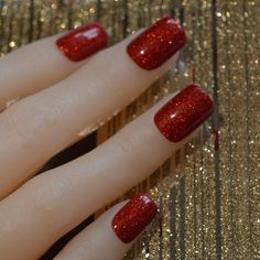 Bling Art False Nails French Manicure Red Gel Glitter Glossy Medium Tips UK