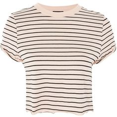 Topshop Stripe Cropped T-Shirt ($15) ❤ liked on Polyvore featuring tops, t-shirts, nude, long-sleeve crop tops, stripe tee, cropped tops, stripe t shirt and rolled up sleeves t shirt