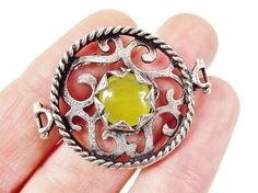 Lime Yellow Jade Stone Fretworked Circle Connector by LylaSupplies, $8.50
