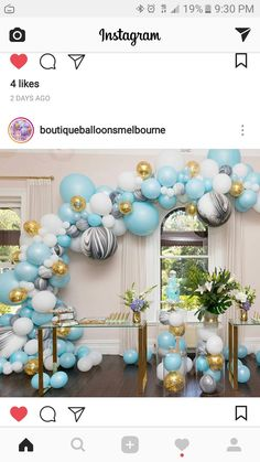 Beautiful balloons.. marble, sky blue