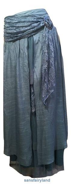 Pretty Angel Size XL Aqua Boho Skirt Lined Sheer Ruffles Antique Buckle 27114  #PrettyAngel #PeasantBoho