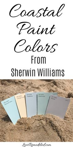 Coastal Paint Colors from Sherwin Williams Amazing beach paint color scheme for your home! You'll feel like you're at the beach, even if you're not!Amazing beach paint color scheme for your home! You'll feel like you're at the beach, even if you're not! Coastal Paint Colors, Interior Paint Colors, Paint Colors For Home, Wall Colors, Paint Colours, Interior Design, Paints For Home, Walmart Paint Colors, Modern Interior