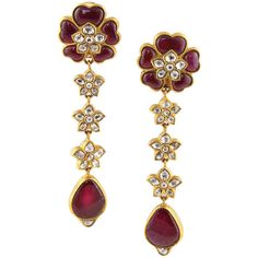 1STDIBS.COM Jewelry & Watches - Unknown - Indian Diamond and Ruby... ❤ liked on Polyvore featuring jewelry, earrings, brincos, indian chandelier earrings, chandelier jewelry, ruby earrings, diamond jewellery and ruby jewelry