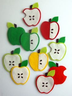 Felt apple coasters from Purl Bee. Adorable idea for fall or teacher gifts. Kids Crafts, Fall Crafts For Kids, Felt Crafts, Family Crafts, Purl Bee, Sewing Crafts, Sewing Projects, Craft Projects, Felt Projects
